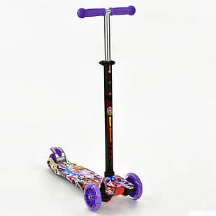 Детский трехколесный самокат Best Scooter Maxi Фиолетовый с принтом (BSc7023)