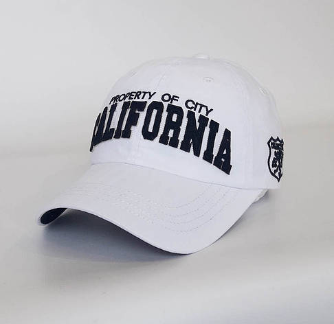 Стильна чоловіча бейсболка California, білий, фото 2