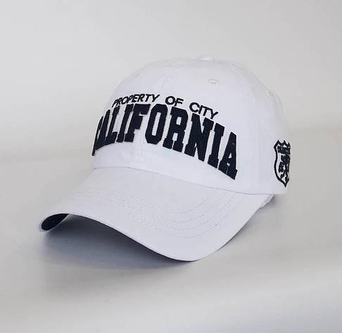 Стильная мужская бейсболка California, белый, фото 2