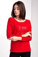 Трикотажный базовый лонгслив-футболка NONNA с длинным рукавом и принтом