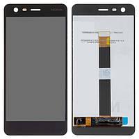 Дисплейный модуль (дисплей и сенсор) для Nokia 2, черный, оригинал