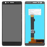 Дисплейный модуль (дисплей и сенсор) для Nokia 3.1, черный, оригинал