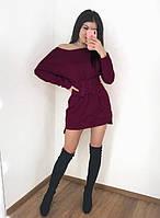 """Теплое платье на флисе с корсетом """"Furor"""" Бордовый, 42-44"""