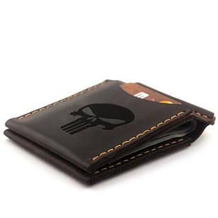Зажим для денег с гравировкой Каратель из натуральной кожи Коричневый (as110102-7)