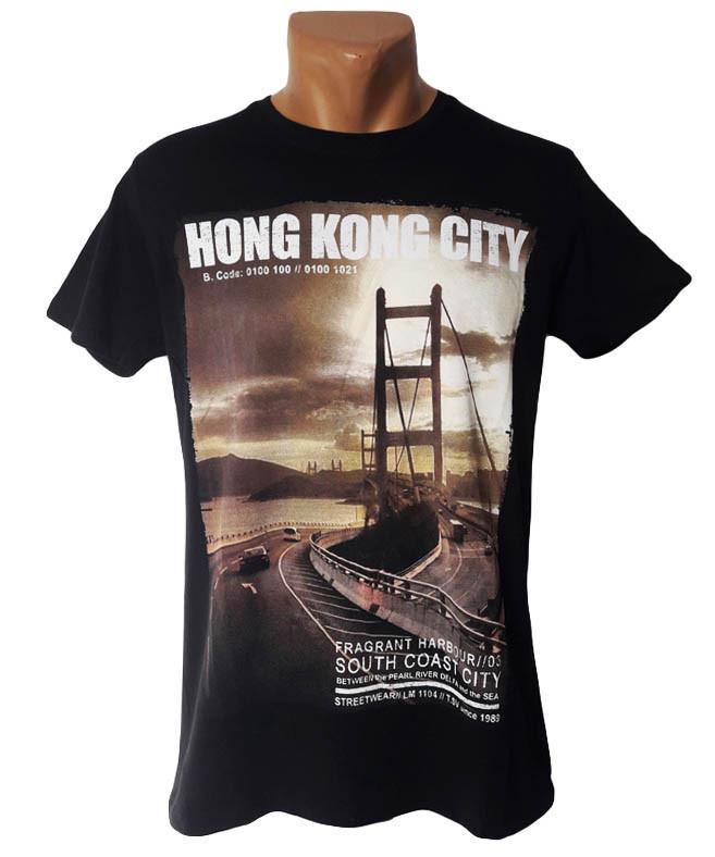 Мужская футболка принт Hong Kong City