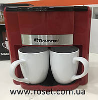 Кофеварка Domotec MS-0705 Red + 2 керамические чашки