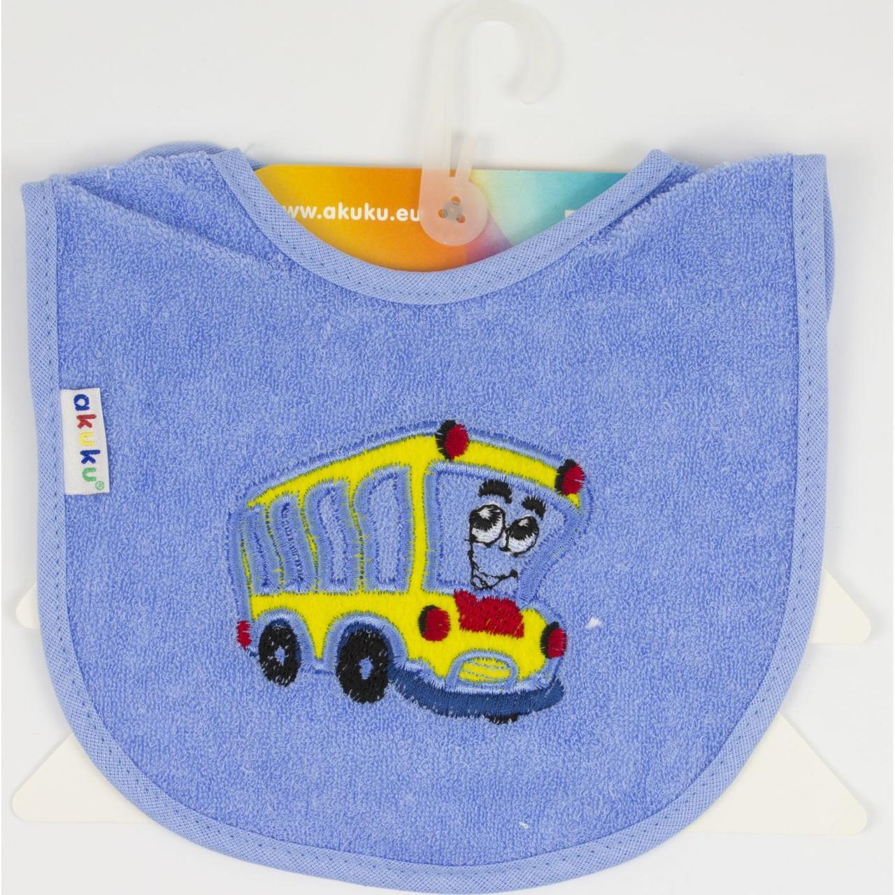 """Слинявчик бавовняно-цератковий """"Akuku"""" Автобус,на липучці №A1314"""