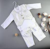 Костюм для мальчика Джентльмен 3 мес / 62 см (костюм,шапка, царапки, пинетки)