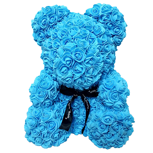 Мягкая игрушка Мишка из роз Bear Flowers Blue 27 см + подарочная коробка (hub_Wpgz45603)