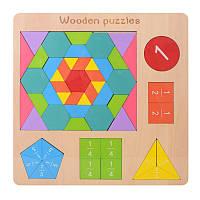 """Іграшка дерев'яна """"Геометрика"""" фігурки, цифри, MD2162"""