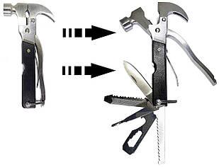 Мультитул с молотком Multi hammer 18 в 1 Черный (RO155-MH)