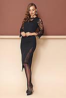 Черное миди платье с ажурными вставками (S, L, XL)