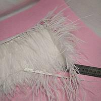 Перья страуса на ленте. Белая.25 см.
