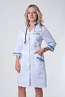 Женский медицинский халат( белый с бирюзовым, белый с сиреневым)