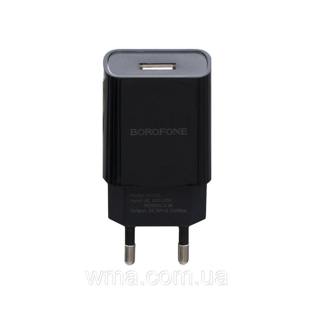 Сетевое зарядное устройство usb (Для телефонов и планшетов) Borofone BA20A Lightning 1USB 2.1A Цвет Чёрный