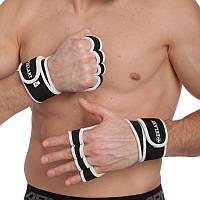 Перчатки атлетические для поднятия веса Zelart размер S-XXL черный-белый PZ-ZG-3616