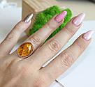Кольцо серебряное с натуральным янтарем Сицилия, фото 3