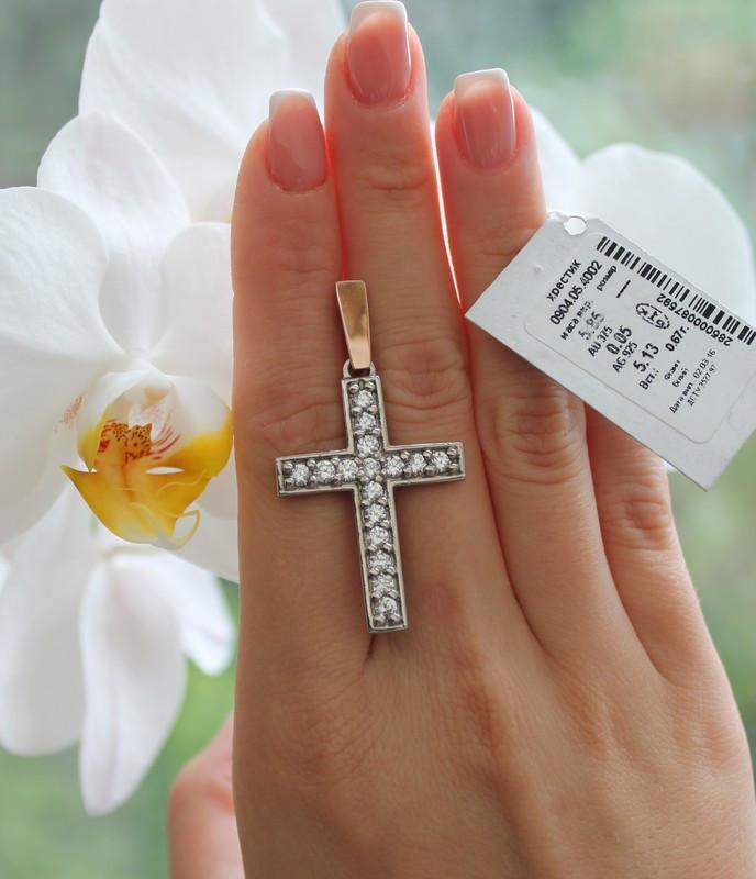 Крест серебро с золотом Сила
