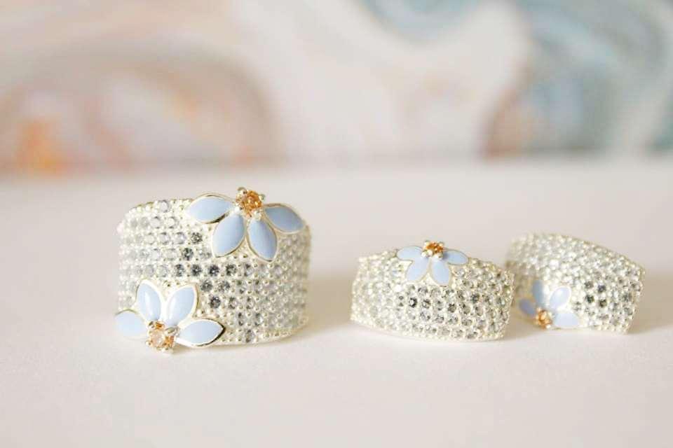 Набор в серебре с голубой эмалью и желтым камнем Анабель
