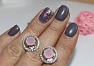 Круглые серьги с розовым цирконом серебро Афина, фото 3