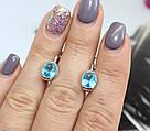 Родированные серьги с голубым цирконом Кэтрин, фото 2