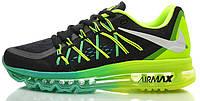 Кроссовки Nike Air Max 2015 Green Volt в черно-салатовом цвете, фото 1