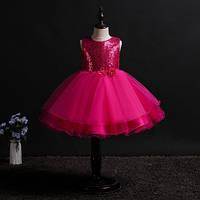 Платье детское нарядное с пайетками на выпуск, на день рождение, на праздник, цвет малиновый рр. 100-150