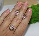 Серебряный комплект с розовым фианитом и золотом Людмила, фото 2