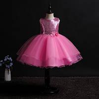 Нарядное платье детское с паетками на праздник, на день рождение, на выпуск, цвет розовый рр.100-150