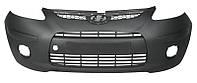 Бампер передний для Hyundai i10 I (PA) (дорестайл) 2007 - 2010, с накладками, с решеткой и заглушками, серый под покрас (NON-OE DESIGN) (FPS, FP 3218