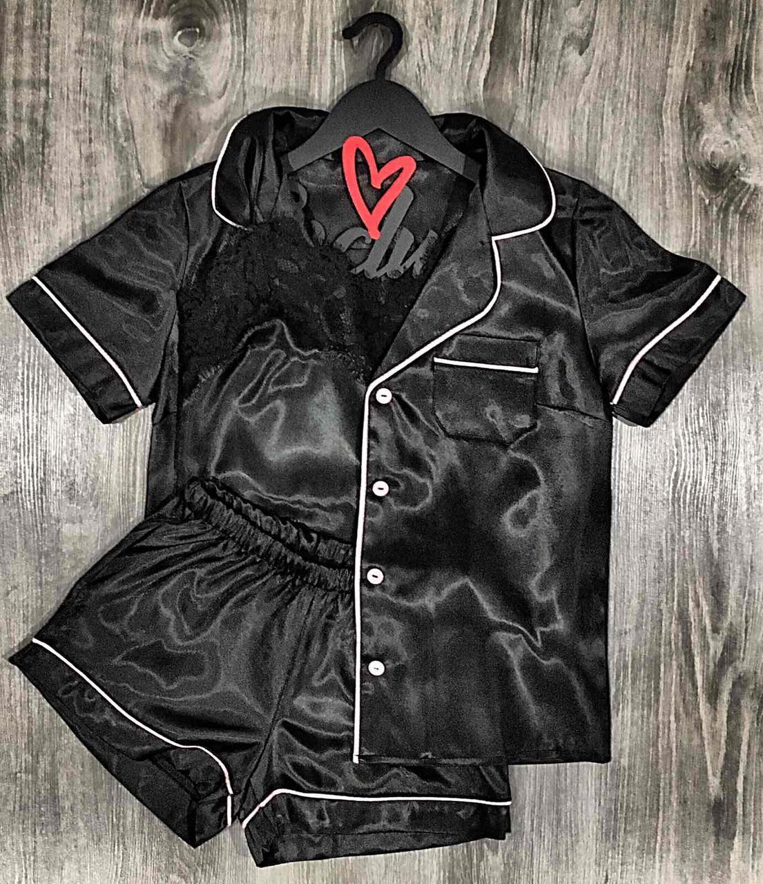 Черная пижама женская рубашка+шорты+майка.