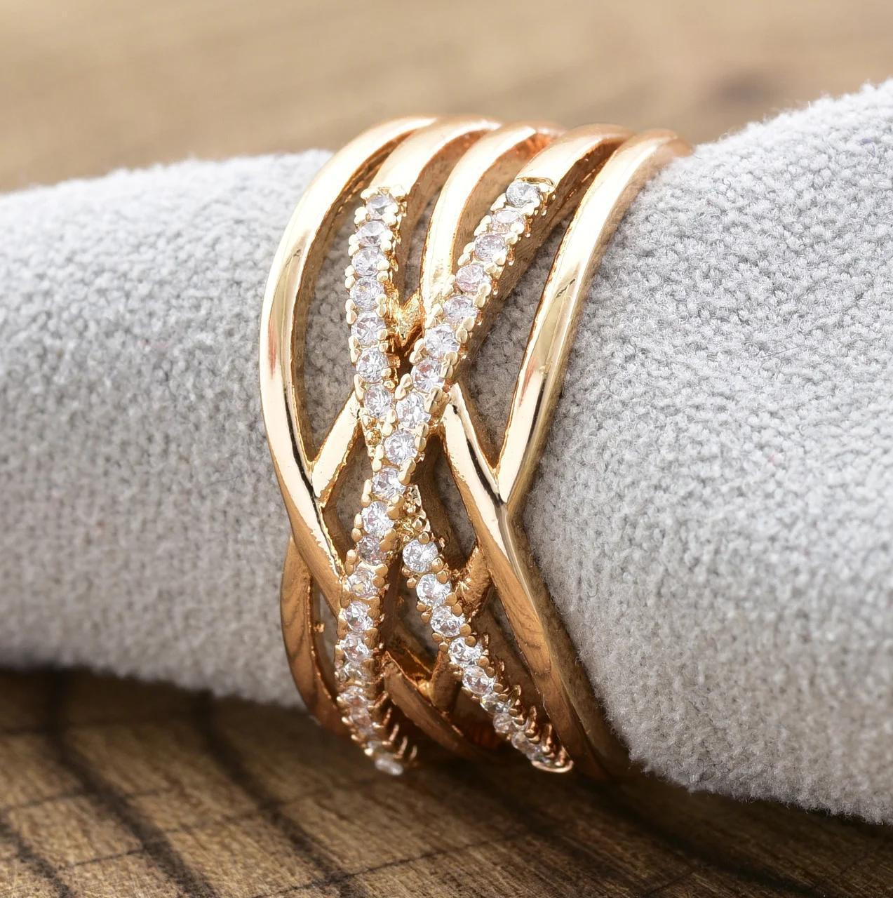 Кольцо Xuping 18р, 20р 10мм медицинское золото позолота 18К 8370