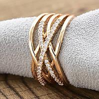 Кольцо Xuping 18р, 20р 10мм медицинское золото позолота 18К 8370, фото 1