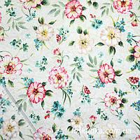 54018 Благоухающий прованс. Ткань с изображением нежных цветов. Ткань бежевая.