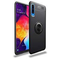 Чехол TPU Ring для Samsung Galaxy A50 2019 / A505 бампер оригинальный с кольцом Black, фото 1