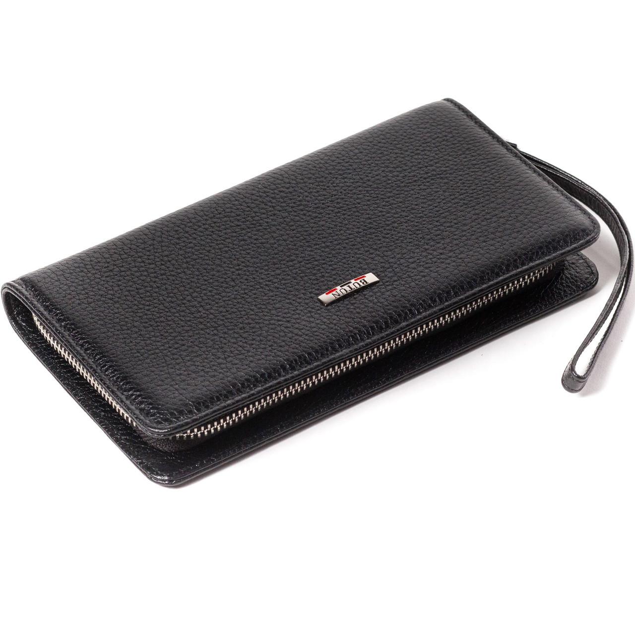 Клатч чоловічий гаманець на блискавці BUTUN 096-004-001 шкіряний чорний