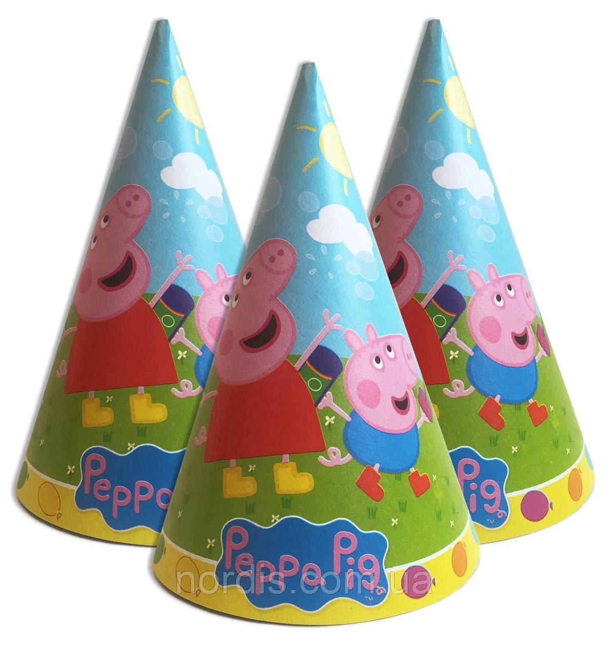"""Колпачки праздничные, маленькие """"Свинка Пеппа голубой"""",10 шт/уп."""
