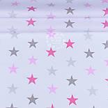 Лоскут ткани с розовыми и серыми звёздами на белом фоне (№1213), фото 2