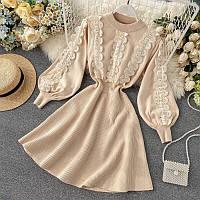 Вязаное платье-резинка с кружевом в двух цветах 42-46 р