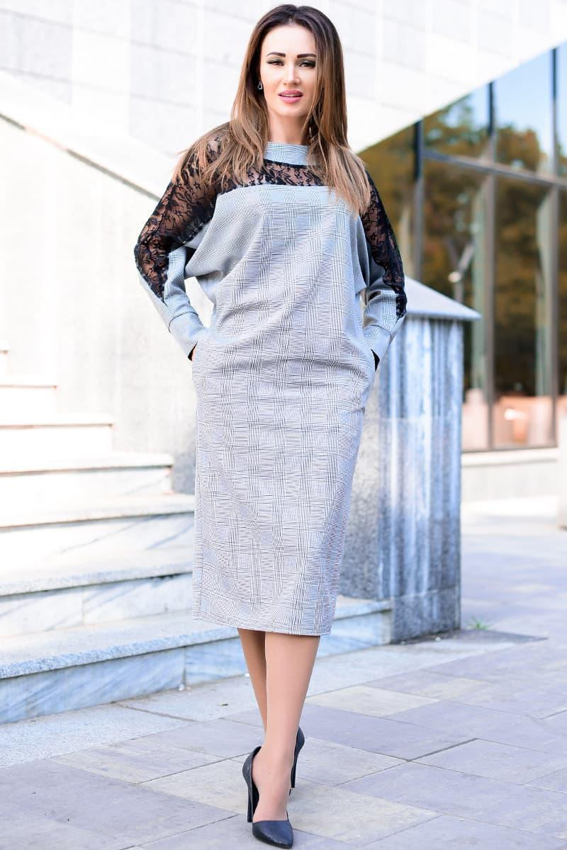 Офисное платье с кружевом Аделина