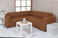 Чехол на угловой диван без оборки Venera 08-210 Коричневый