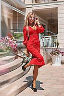 Длинное облегающее платье красный