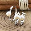 Серебряный набор Ш682 кольцо размер 17.5 + серьги 17х5 мм вставка искусственный жемчуг, фото 4