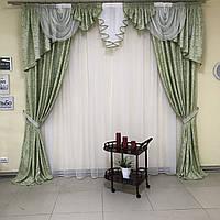 Комплект штор из жаккарда 2 шт с ламбрекеном на карниз 3 м в салатовом цвете (для спальни, гостиной, зала)