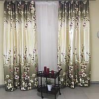Комплект плотных штор из атласа с зеленым цветочным принтом с тюлью с утяжелителем (для спальни, гостиной)