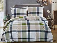 Сатиновое постельное белье семейное ELWAY 5045 «Геометрическая клетка»