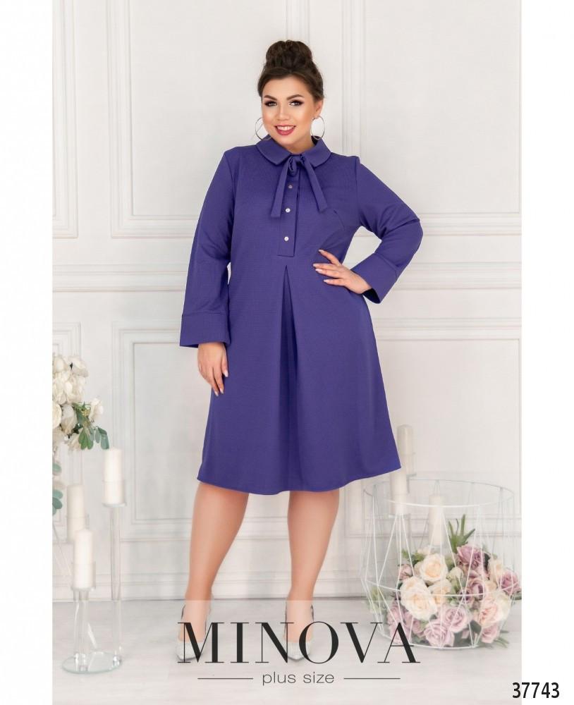 Нежное повседневное платье плюс сайз с отложным воротничком (размеры 50-62)