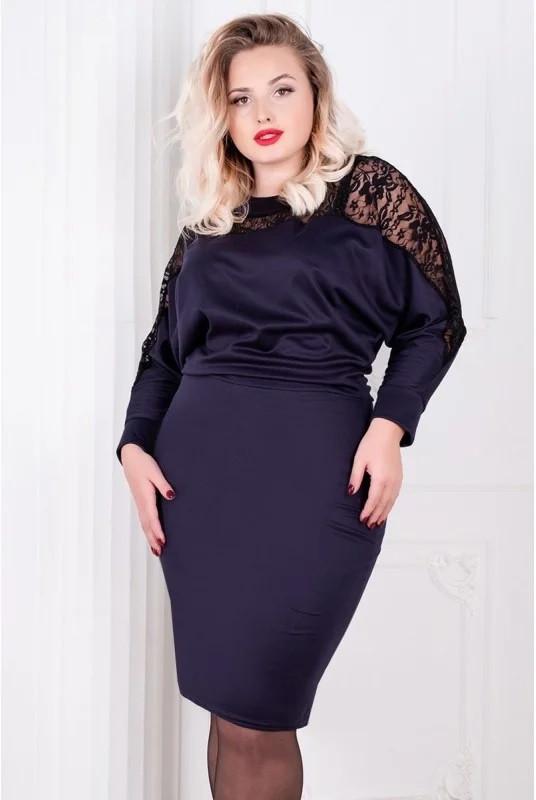 Красивое женское платье с кружевом большого размера