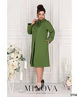 Нежное повседневное платье плюс сайз с отложным воротничком (размеры 50-62), фото 1