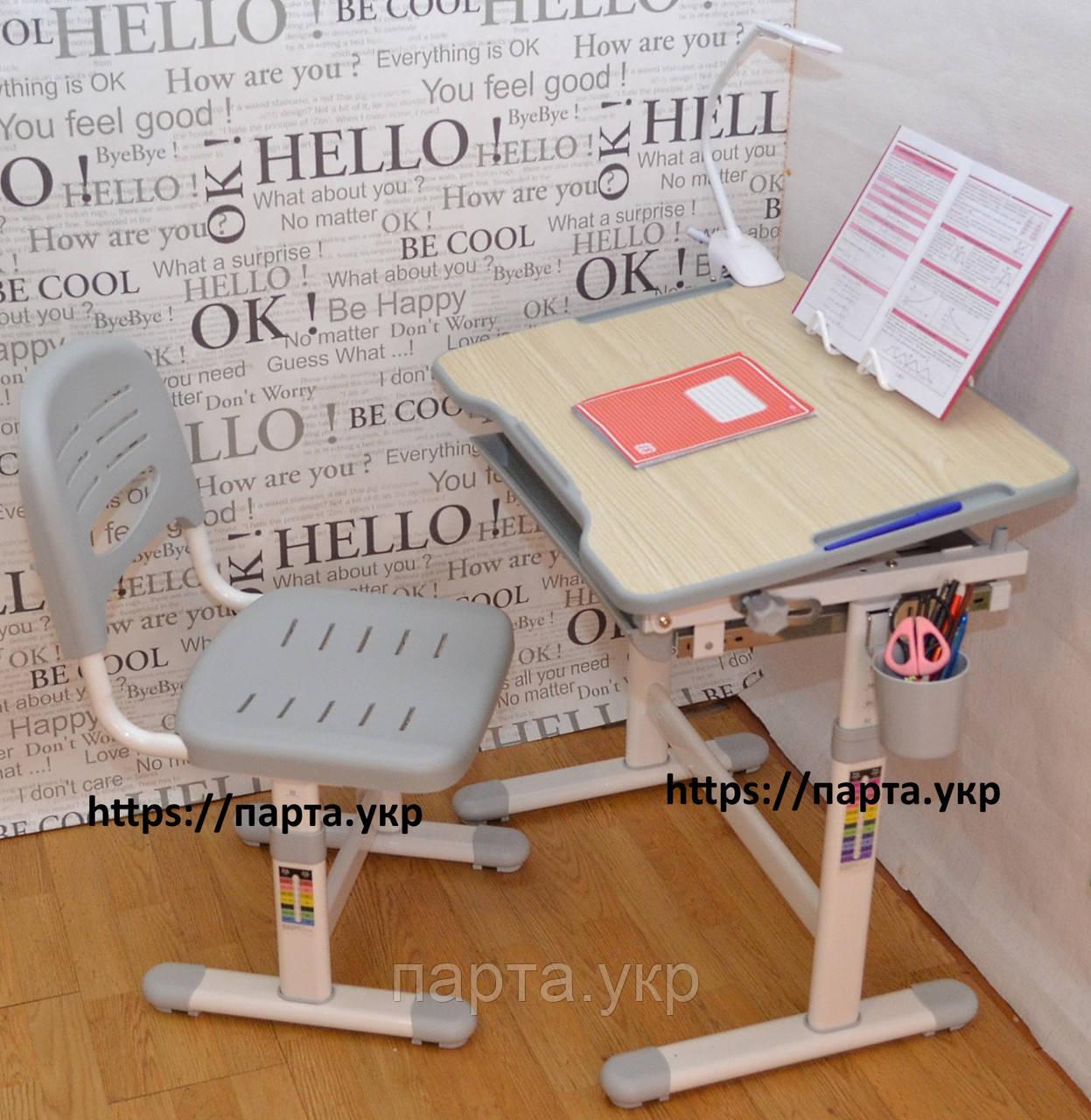 Детская парта и стул растишки FunDesk Piccolino  + лампа + подставка